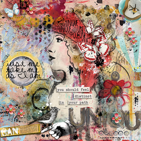my first mixed media-art journal layout